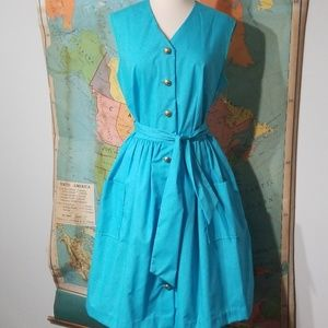 Vintage Bright Blue Dress with Brass Buttons